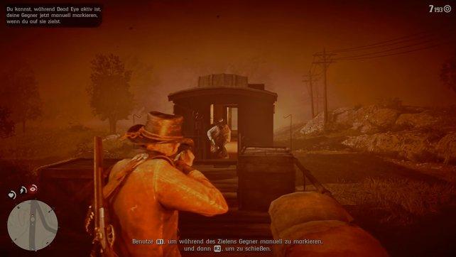 """Im """"Dead Eye""""-Modus müsst ihr die angreifende Wache erschießen, ehe diese Sean töten kann."""