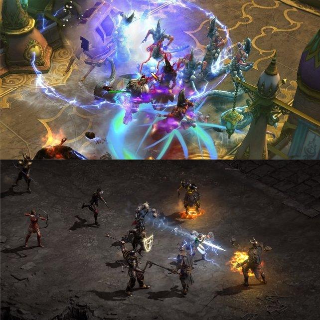 Diablo 3: RoS (s. o.) und Diablo 2: Resurrected (s. u.) im direkten Grafikvergleich. Bild: Blizzard