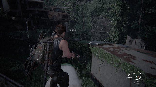 Wenn ihr euch bis nach oben und dann bis zum Heck durchgekämpft habt, müsst ihr hier die Leiter hochklettern und auf die Straße neben euch springen.