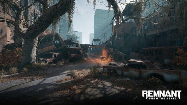 Die Welt Farpoint erinnert an verwüstete Städte in Darksiders.