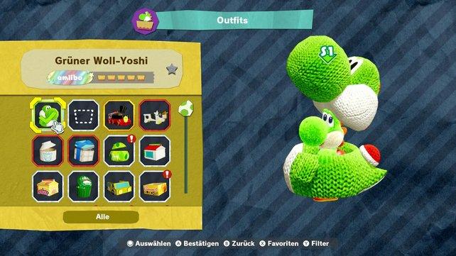 Eines der vielen verrückten Outfits, die ihr tragen könnt … ein Yoshi im Yoshi-Kostüm.