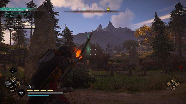 Tötet nacheinander die Wachen und nutzt anschließend Brandpfeile oder eure Fackel, um die Häuser zu verbrennen.