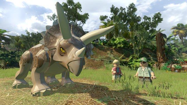 Mit dem fitten Dino dürft ihr die Umgebung zerkloppen und Wände einreißen.