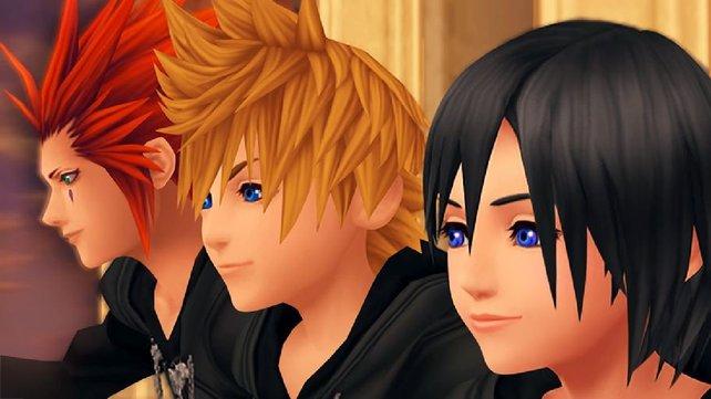 Von links nach rechts: Die Freunde Axel, Roxas und Xion.