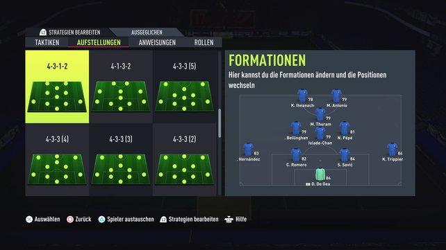 Eine geeignete Aufstellung gegen Kontrahenten, die sehr defensiv spielen: das 4-3-1-2.