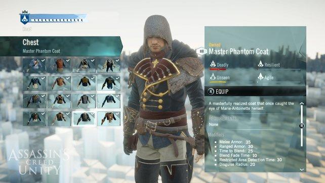 Euren Assassinen könnt ihr auf vielfältige Weise ausrüsten.