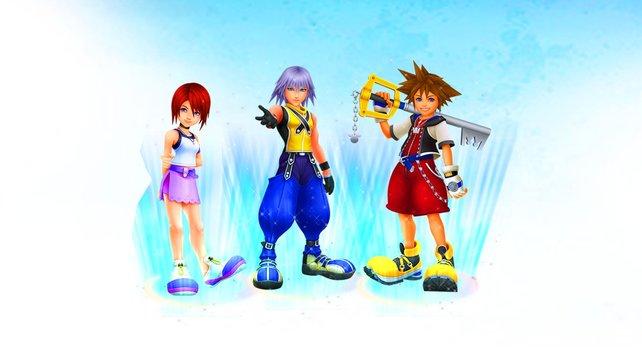 Von Links nach rechts: Kairi, Riku und Sora.