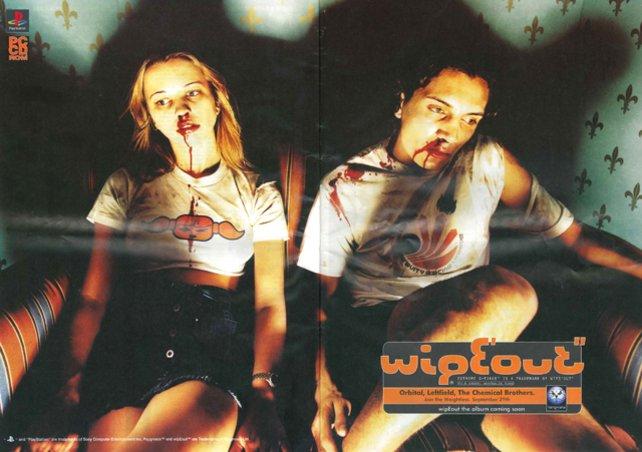 Werbeanzeige für Wipeout: Die beiden haben sich die blutigen Nasen nicht beim letzten Rave geholt, das Spiel war einfach zu schnell.