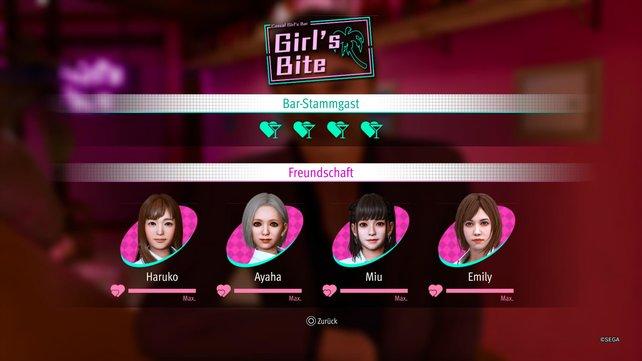 Die Herzen dieser vier Damen müsst ihr erobern, um die Girl's Bite Schulgeschichte erfolgreich zu beenden.