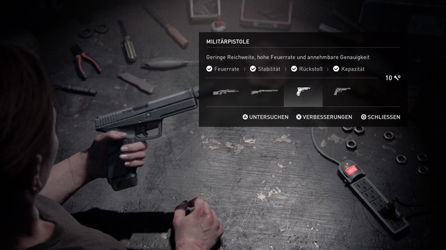 Nutzt die Werkbank, um eure Waffen zu verbessern. Später in der Mission sind gute Schusswaffen sehr wichtig.