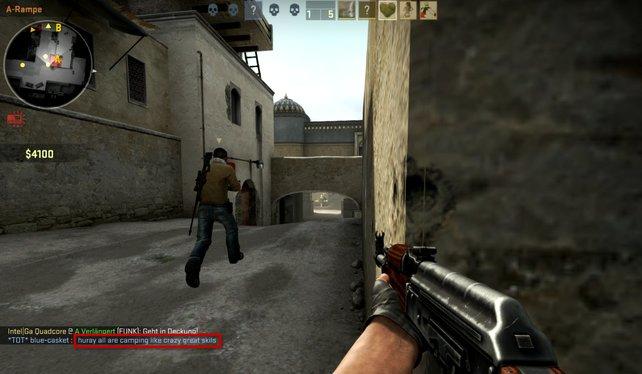 """Wie an diesem Bild zu sehen, regen sich Spieler immer noch über dieselben Dinge auf. """"Camper-Strike"""" steht auch in Global Offensive hoch im Kurs."""