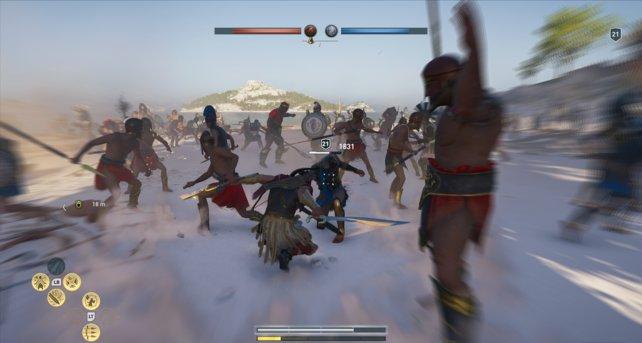 Ein Athener sackt unter unserer Kombo zusammen. Der Kampf ist Teil des Conquest-Systems.