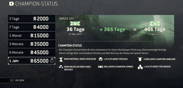 So sieht die Staffelung aus, wenn ihr euer Stahl in den Champion-Status investieren wollt.