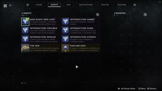 Diese Quests könnt ihr aktuell mit Destiny 2: New Light genießen.