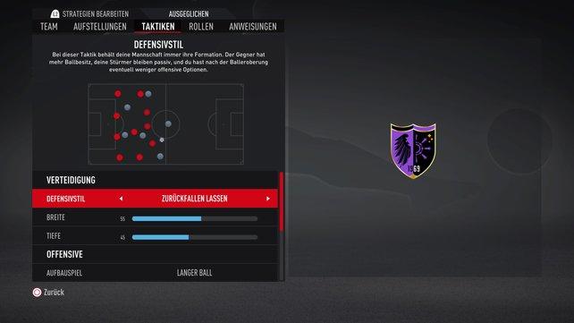 In den Taktikeinstellungen könnt ihr den Defensivstil an euer Spiel anpassen.