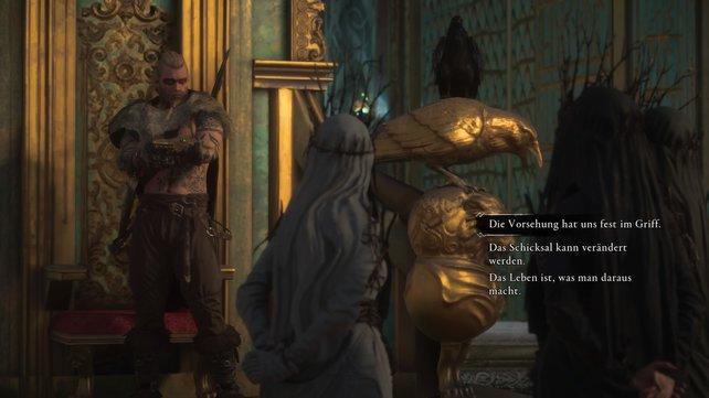 Nach Einnahme von Valkas Trank, findet sich Eivor in Asgard wieder, wo er in die Rolle Havis (Odin) schlüpft.