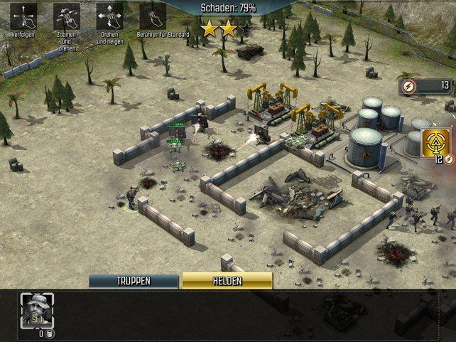 Mit euren Trupps und Heldenfiguren attackiert ihr feindliche Basen.