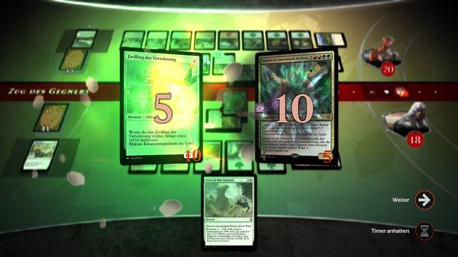 Magic Duels protzt mit großem Karten-Katalog und ist für Einsteiger wenig übersichtlich.