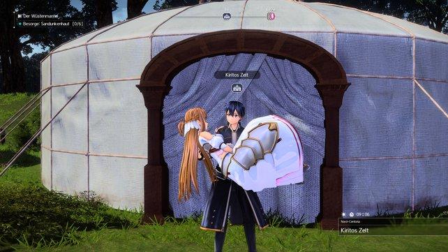 Wie ein frisch vermähltes Paar machen sich Kirito und Asuma auf den Weg in Kiritos Zelt.