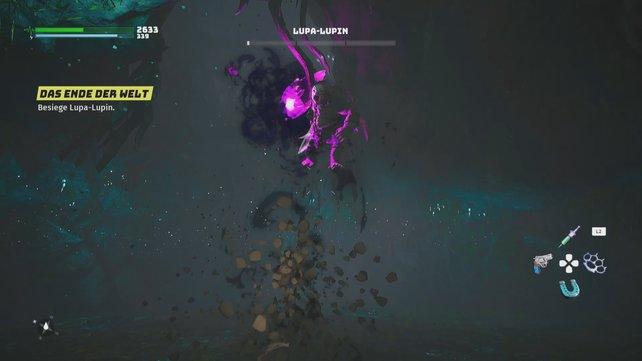 In Phase 3 kommt Lupa-Lupins stärkster Angriff zum einsatz. Eine Schockwelle, die zeitgleich schneidenden Sand in alle Richtungen verschießt.