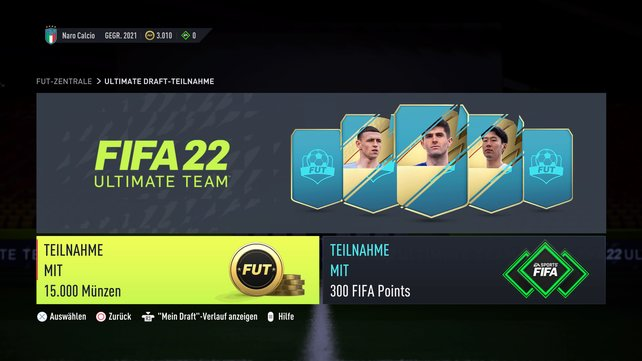 Die Teilnahme am FUT-Draft ist auch in FIFA 22 nicht ganz billig.