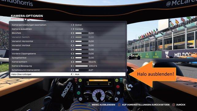 Stellt den Halo-Überrollbügel für bessere Sicht auf die Strecke aus.