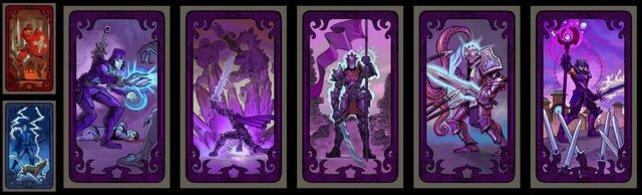 Alle Macht/Zauberkraft-Schicksalskarten in einer Reihe.