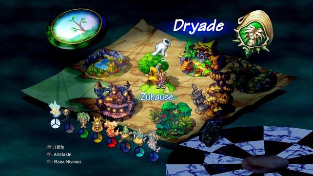In der linken unteren Hälfte seht ihr die Mana-Geister mit ihren Elementarkräften. Je farbiger sie leuchten, desto dominanter sind sie.