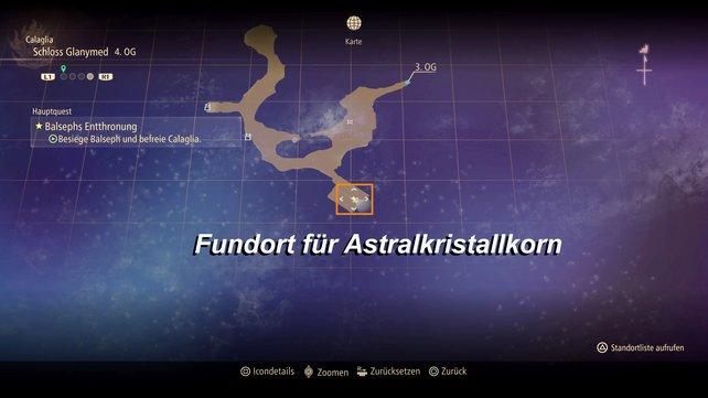Im 4. OG des Schlosses Glanymed findet ihr die blaue Truhe mit dem Astralkristallkorn.