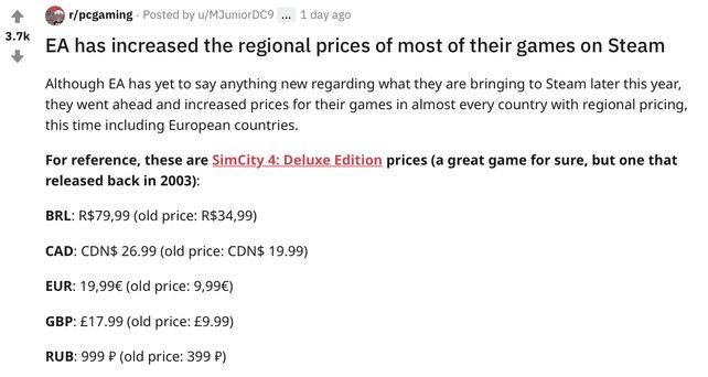 Redditor machen die Entdeckung: So steht es bspw. um den Preisanstieg der Deluxe Edition von SimCity 4 -  kein Einzelfall.