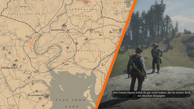 """An einem dieser Orte bei Red Dead Redemption 2 wird der Schatzsucher, bei dem ihr """"Riskanter Schatz"""" starten könnt, auftauchen."""