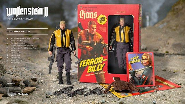 """Teil der Collector's Edition von Wolfenstein 2: Eine Action-Figur von """"Terror-Billy."""""""