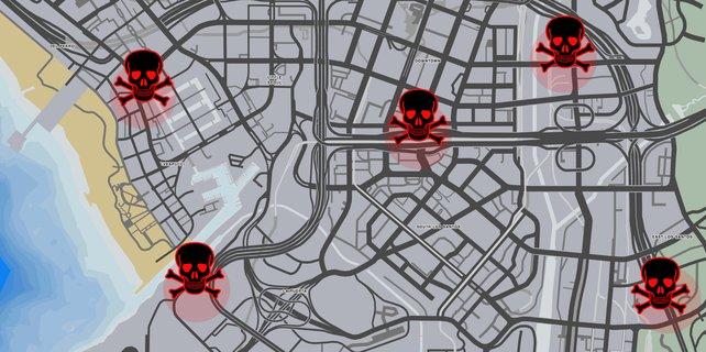 Standorte, an denen euch Insta-Kills widerfahren können. Quelle: Kotaku.