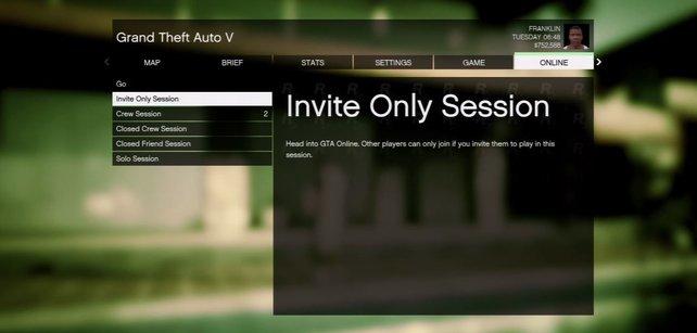 Spieler suchen vergeblich nach einer privaten Lobby in GTA Online, da die Sitzung über den Storymodus von GTA 5 gestartet werden muss.