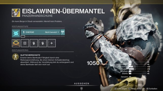 Exotische Panzerhandschuhe für Titanen: Eislawinen-Übermantel.