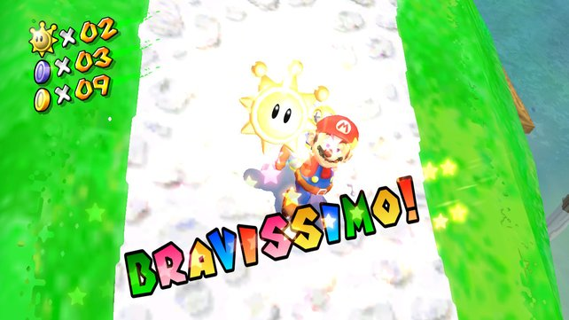 Mit Hilfe der blauen Münzen könnt ihr zusätzliche Sonneninsignien sammeln und Marios Herz erfreuen.
