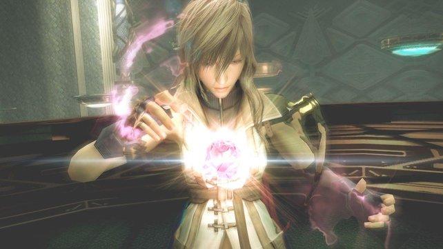 Ein L'Cie bei der Arbeit: Lightning beschwört Odin in Final Fantasy 13.