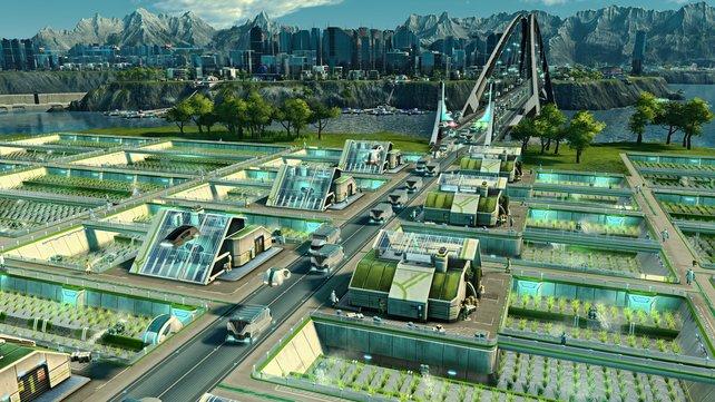 Nach und nach erweitert ihr euren Baubereich dank Brücken und der damit verbundenen Erschließung neuer Inseln.