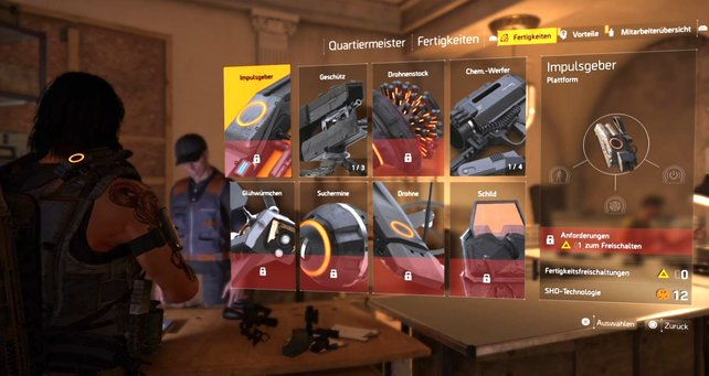 Neue Skills könnt ihr nur beim Quartiermeister in der Basis im Tausch gegen SHD-Tech kaufen.