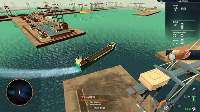 Es ist gar nicht so einfach, einen so großen Frachter anzulegen.