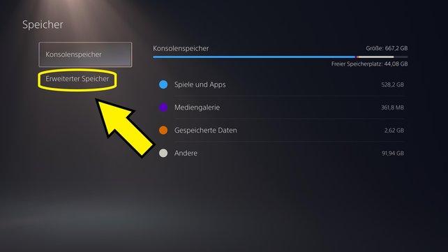 """Über den Reiter """"Erweiterter Speicher"""" könnt ihr eure Speicherdaten auf einen kompatiblen externen Speicherträger kopieren."""