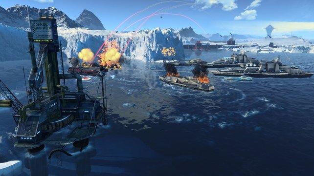 Mit Schlachtschiffen beschießt ihr den Feind.