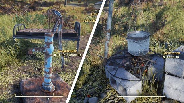 Die Wasserpumpe und die Kochstation dürfen nicht in eurem Lager fehlen.