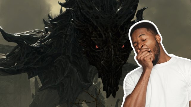 Skyrim, Zelda & Co: Manche Endbosse in Videospielen sind viel zu leicht. (Bild: elderscrolls.fandom.com – Le Bestia Negra / Getty Images – Prostock-Studio)