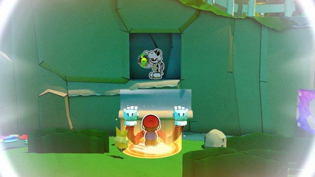 Der Knochentrocken versteckt sich mit der gelben Panzerkugel in der Felswand.