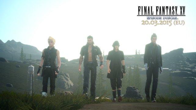Prinz Noctis (zweiter von rechts) und seine Boyband durchstreifen das Land.