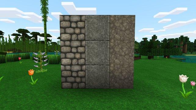 Bruchsteine (links) unterscheiden sich von der Textur sehr von normalen Stein (rechts) und glattem Stein (Mitte).