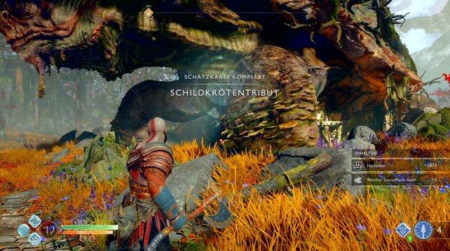 Sucht die Schatzkarten und schnappt euch die versteckten Schätze in God of War.