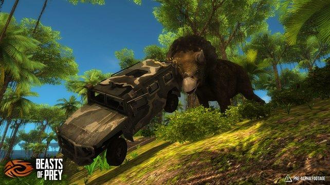 Der Triceratops hat schlechte Laune und räumt kurzerhand den Humvee aus dem Weg.