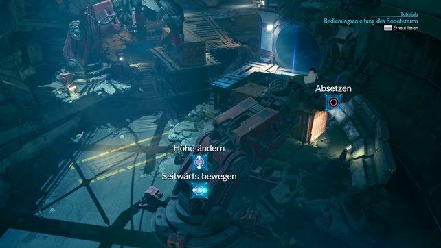 Nutzt nun beide Roboter-Arme, um die Container richtig hinzustellen, sodass Aerith die Leiter herunterlassen kann.